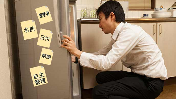 職場の冷蔵庫を開ける男性社員