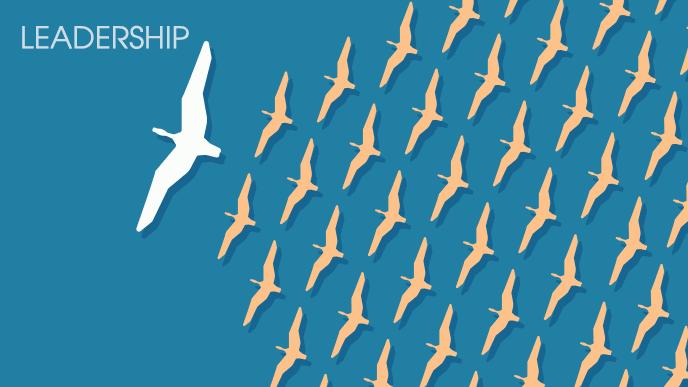 群れを率いて飛ぶリーダーの鳥