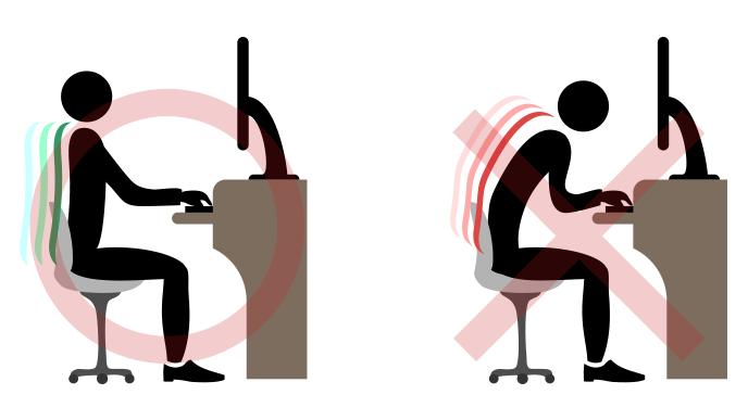 椅子に座る正しい姿勢と間違った姿勢