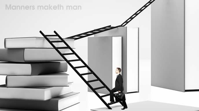勉強をし続けるスーツ姿の男性のイメージ