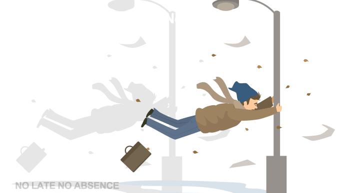 風に飛ばされそうになっている人のイラスト