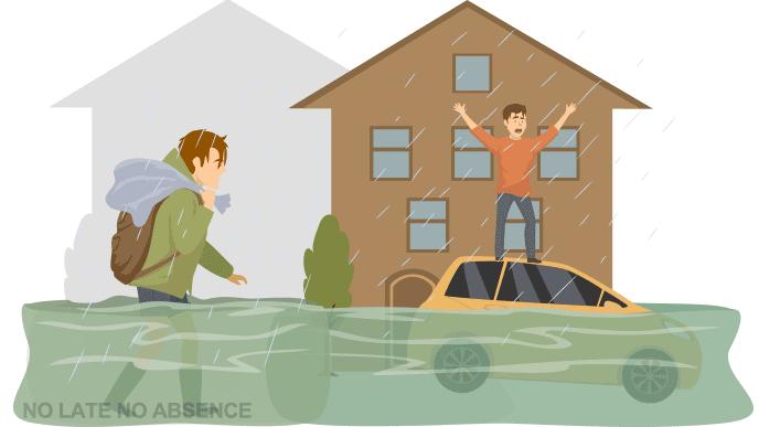 洪水の中を進む人のイラスト