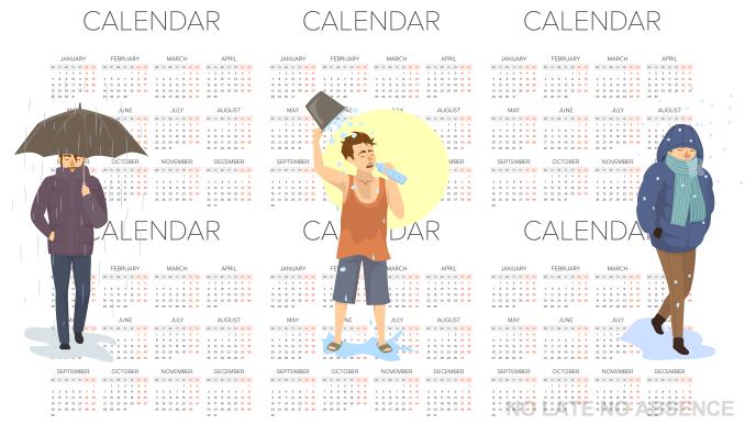 カレンダーの前に立つ人のイラスト