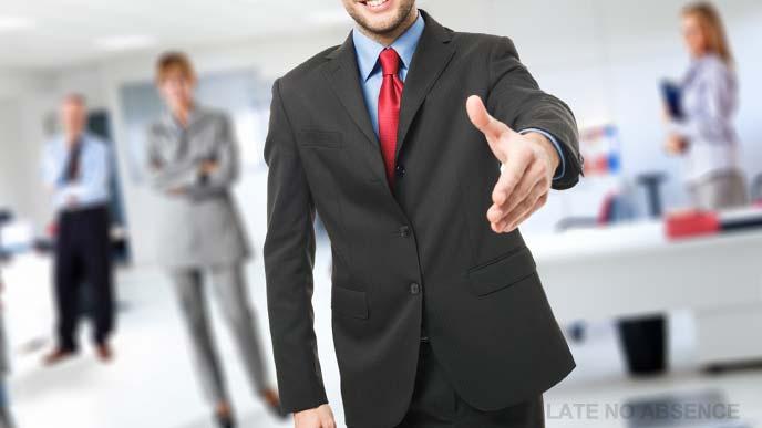 ようこそ新しい職場への男性