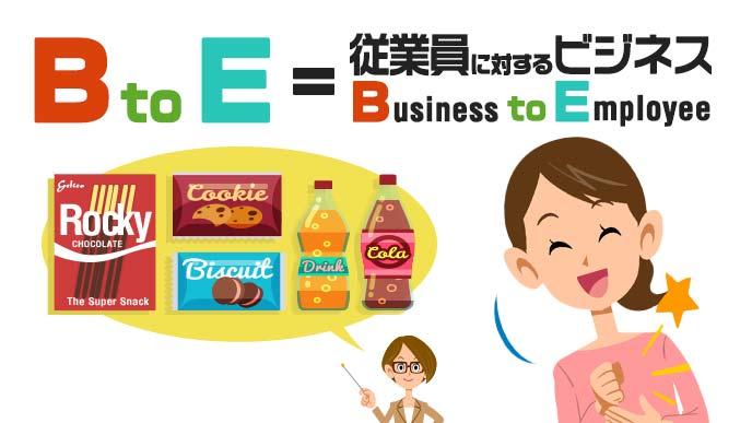 BtoEとはBusiness to Employee(従業員に対するビジネス)と聞いて納得顔の女性のイラスト